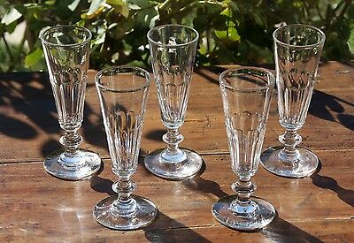 Antique French  Set of 5 flutes Champagne glasses   Cut crystal  19 Th Century