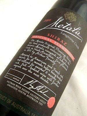 2000 SALTRAM METALA Black Label Shiraz BOTTLE No 20817 Isle of Wine