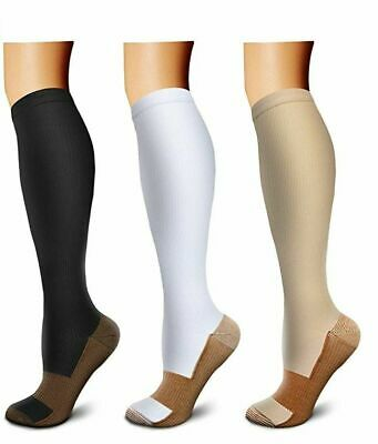 (3 Pairs) (S-XXXL) Copper Compression Support Socks 20-30mmHg Knee High Unisex