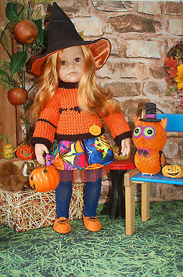 Puppenkleidung 5-tlg. Halloween Outfit Pullover Rock Schuhe Hut 50 cm Stehpuppe