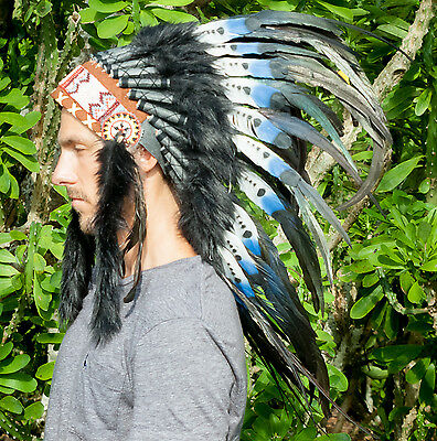 Feather Headdress- Native American Indian Style -ADJUSTABLE- DOUBLE FEATHER Blue