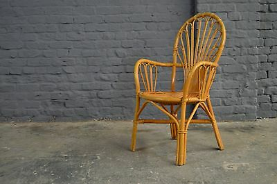 Retro Vintage Bamboo Cane Wicker Chair Lounge Conservatory Furniture