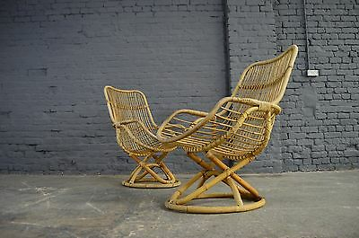 Retro Vintage Mid Century Bamboo Cane Wicker Atomic Lounge Egg Chairs