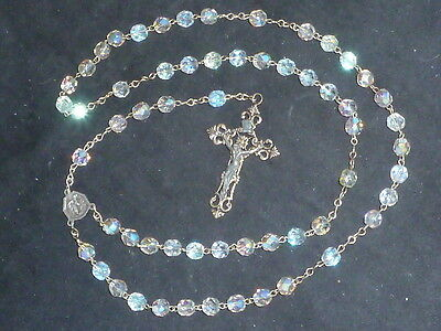 Delightful Vintage Our Lady of Lourdes Aurora Borealis Crystal Rosary
