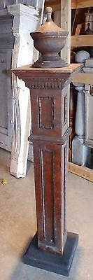 Antique Walnut Wood Newel Post Urn Finial Old Vtg Interior Staircase 1821-16