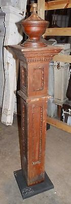 Antique Walnut Wood Newel Post Urn Finial Old Vtg Interior Staircase 1822-16