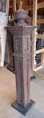 Antique Walnut Wood Newel Post Urn Finial Old Vtg Interior Staircase 1824-16
