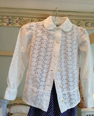 Vintage 1950's Girl  Blouse White Cotton Eyelet Unlined Jacket Top Excellent