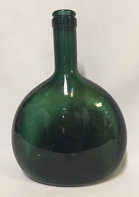 "ANTIQUE GLASSWARE DARK GREEN OVAL Vintage Glass BOTTLE 8"" TALL 6"" Wide"