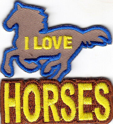 MI-25-2... each I Love Horses Badge Embroidered Iron On Motif Applique Brown