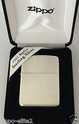 Luxury Solid Sterling Silver Zippo Lighter  #24 1941 Replica Satin Brush Finish