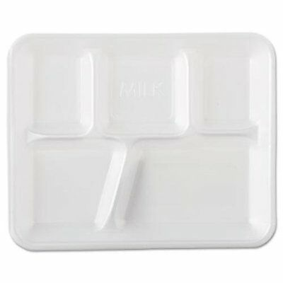 Genpak 10500 5 Compartment  Foam School Restaurant Lunch Tray (Case of 500)