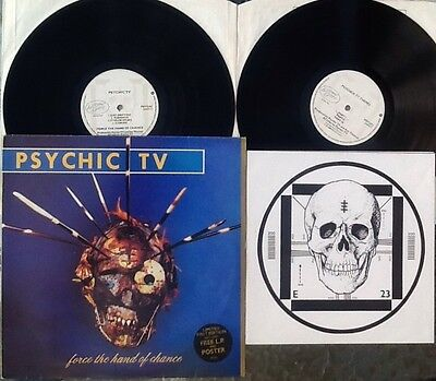 PSYCHIC TV Force The Hand Of Chance UK 2x LP & POSTER RARE THROBBING GRISTLE