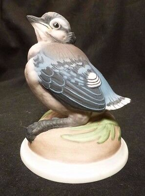 Vintage BABY BLUE JAY Figurine BOEHM Bisque Porcelain 436 Hand Painted 70's CUTE