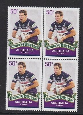 Australia 2008 : Centenary of Rugby League, Block of 4 x 50c Decimal Stamps, MNH