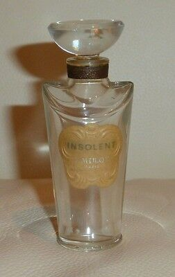 "Vintage F. Millot Insolent Empty Perfume Bottle With Glass Stopper 3"" Tall"