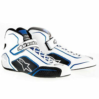 Alpinestars Tech 1-T FIA Approved Race Boots White / Blue - UK 12 / Eur 47