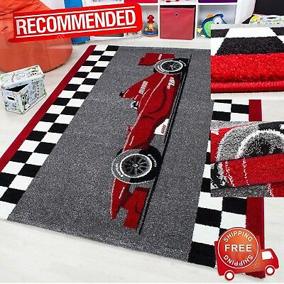Childrens Rug F1 Sports Racing Car Design Kids Bedroom Carpet Boys Playroom Mat