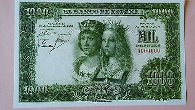 World banknote Spain 1000 peseta 1957 Quality Scarce REPRODUCTION
