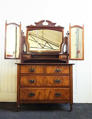 Antique Victorian walnut wing mirror dressing table / chest of drawers