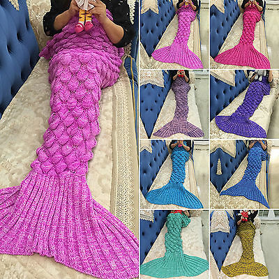Kids Adults Mermaid Tail Fish Scale Pattern Crocheted Sofa Knit Lapghan Blanket