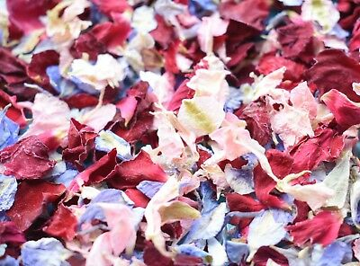 Slowfall Natural Dried Petal Biodegradable Wedding Confetti Pink Red Blue 1L