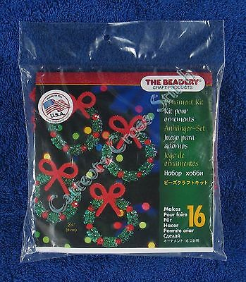 "Christmas Bead Kit Holiday Wreath Ornament Makes 16 2.25"" 6 cm Quick & Easy"