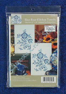 "Stamped Cross Stitch Kitchen Towels Pair Blue Rose Quick & Easy 17"" x 30"" Tobin"
