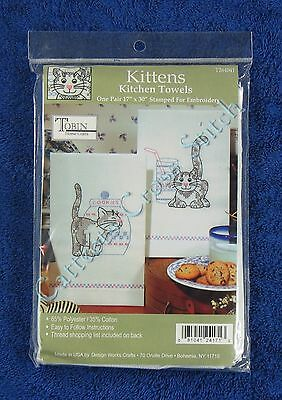 "Stamped Cross Stitch Kitchen Towels Pair Kitten Cats 17"" x 30"" Tobin Easy"