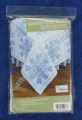 Stamped Cross Stitch Quilt Blocks Lancaster Set of 6 Quick & Easy Tobin