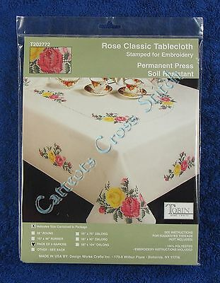 "Stamped Cross Stitch Rose Classic Napkins Set of 4 17"" Square Tobin"