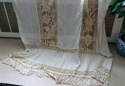 "Stunning Chateau antique Creamy French Tuscany mixed ctn handmade LACE  63""x90"""