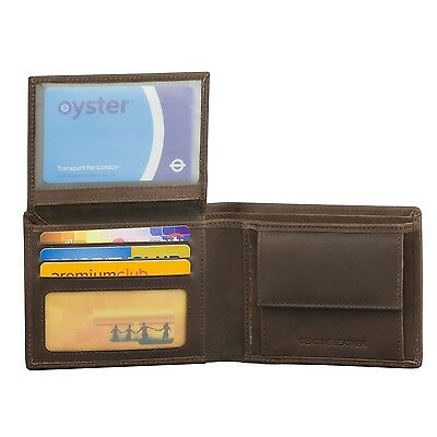 RFID Blocking Mens Wallet with Coin Pocket Real Genuine Cow Black Brown Leather