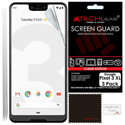 "3 Pack of TECHGEAR CLEAR Screen Protector Covers For Google Pixel 3 XL (6.3"")"