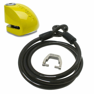 Xena 1.5m Cable and Green XX6 Alarm Motorcycle Disc Lock 120db