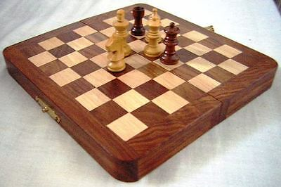 CHESS SET.HAND INLAID. FOLDING  WOODEN BOARD SHEESHAM. 15 cm. .  NEW