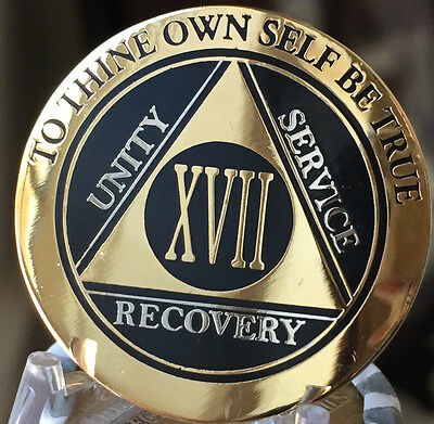 17 Year AA Medallion Black Gold Plated Bi-Plate Alcoholics Anonymous Chip Coin