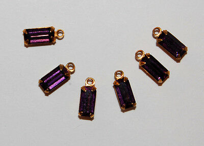 VINTAGE GLASS OCTAGON PENDANT BEADS BRASS SETTING 8x4mm • MANY COLORS AVAILABLE