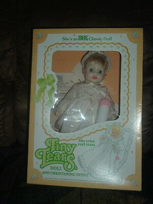 Ideal Classic Tiny Tears Doll in Original Box w/Christening Outfit and Bottle