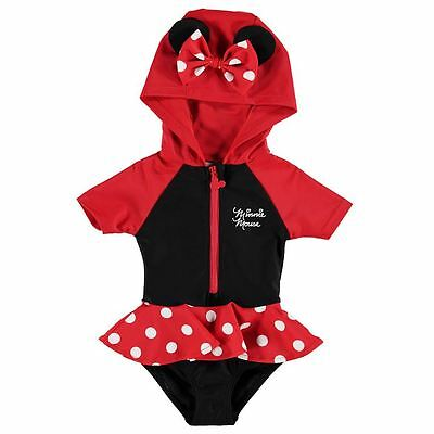 Disney Official Minnie Mouse Baby Girls Red/Black Hooded Swim Suit - BNWT
