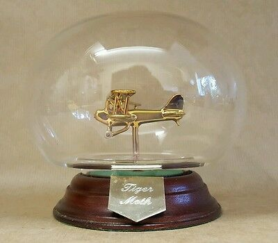 Glass Model of a Vintage Tiger Moth Aircraft in Glass Orb & Wooden Plinth
