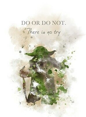 ART PRINT Yoda Quote, Star Wars illustration, Movie, Wall Art, Home Decor