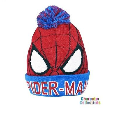 Official Licensed Product Spiderman Bobble Cuff Knitted Hat Winter Gift Kids New