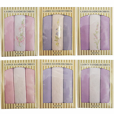 New Womens Ladies Embroidered Hankies Hankerchiefs Multi Pack Of 3 Gift Box