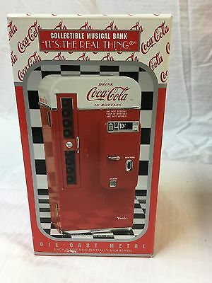 Coca Cola Die Cast Metal Collectible Musical Bank Vending Machine MIB #128910 A+