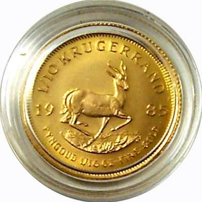 Africa 1/10 oncia Monete d'Oro 1985 ST Krugerrand 917 oro in Capsula