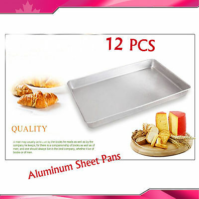 "12PCS 24"" x 16"" Full Size Aluminum Sheet Pans New Commercial Baking Bun Pan FOOD"