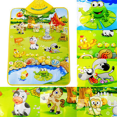 Kids Baby Farm Animal Musical Sound Touch Play Singing Gym Music Carpet Mat Toy