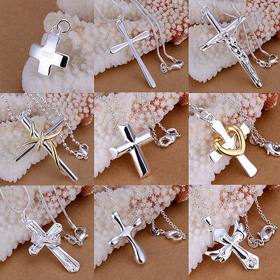 Fashion 925 Sterling Silver Plated Cross Shape Crystal Necklace Pendant Jewelry