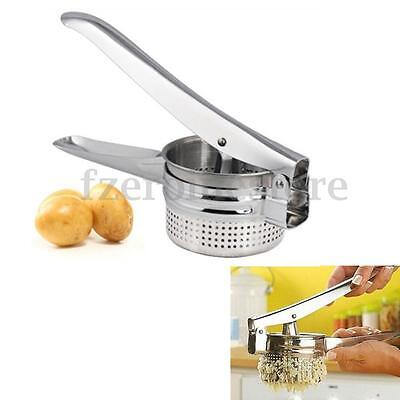 Acero Inoxidable Hand Held Potato Masher Ricer Puré Exprimidor Fruta Presa Maker